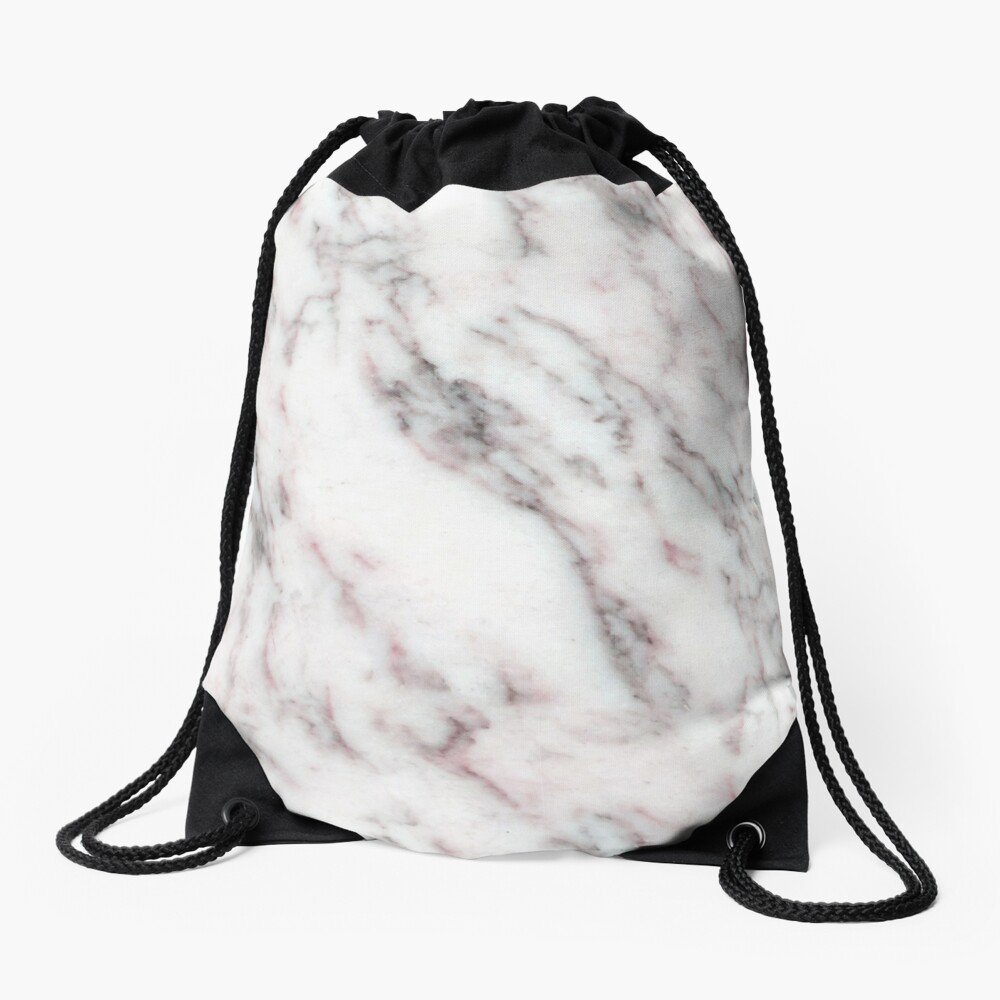 Soft Pink and Charcoal Veins on Whipped Cream Marble Drawstring Bag