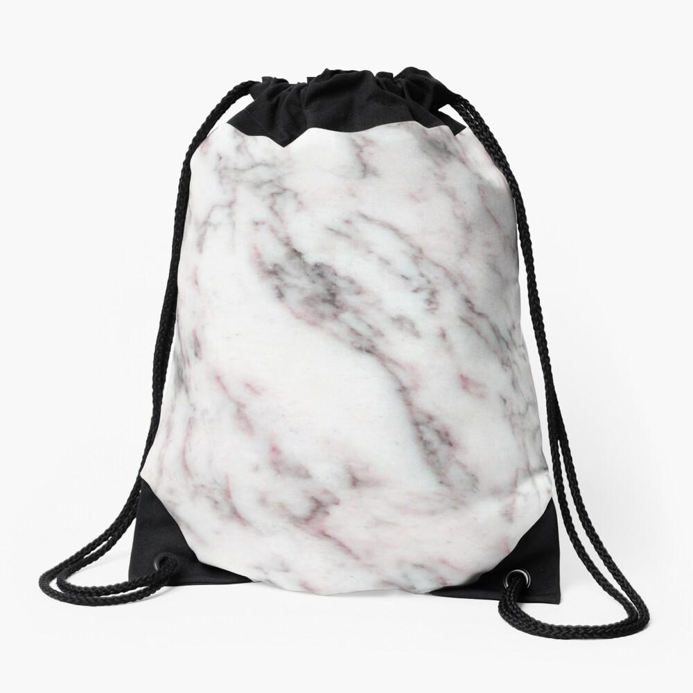 Soft Pink und Charcoal Venen auf Schlagsahne Marmor Turnbeutel