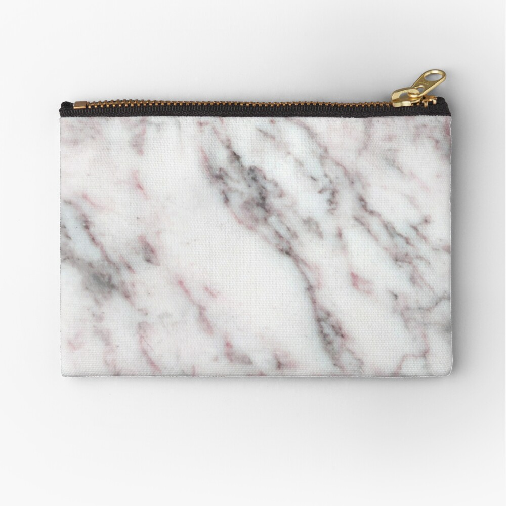 Soft Pink and Charcoal Veins on Whipped Cream Marble Zipper Pouch