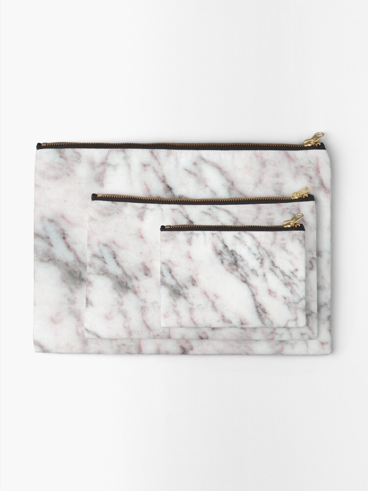 Alternate view of Soft Pink and Charcoal Veins on Whipped Cream Marble Zipper Pouch