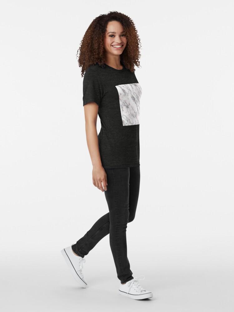 Alternative Ansicht von Soft Pink und Charcoal Venen auf Schlagsahne Marmor Vintage T-Shirt