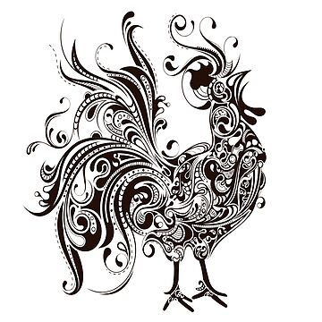 ROOSTER in Black & White by TOMSREDBUBBLE