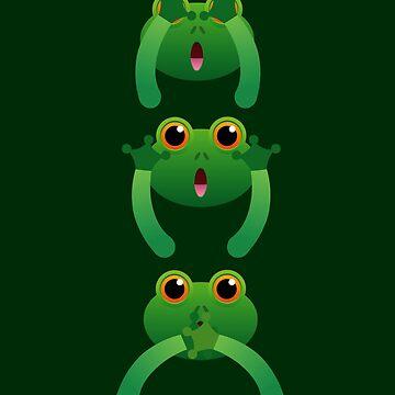Frog Do not See Hear Speak by Wuselsusel