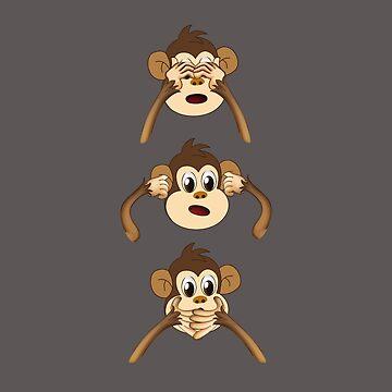 Monkey Do not See Hear Speak by Wuselsusel