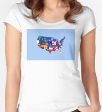 usa states flag map Women's Fitted Scoop T-Shirt