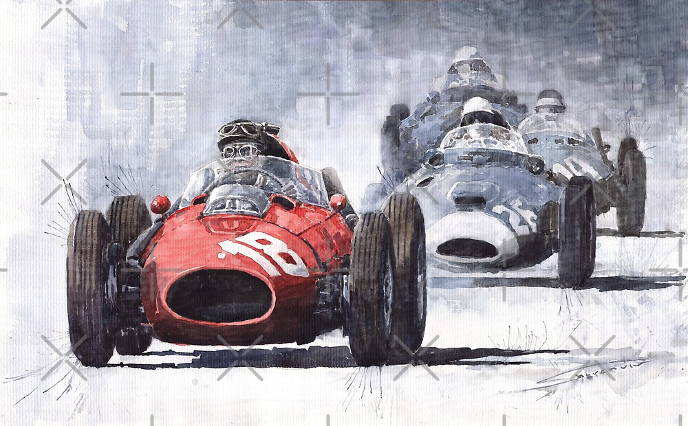 Red Car Ferrari D246 1958 Monza Phill Hill by Yuriy Shevchuk