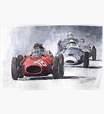 Red Car Ferrari D246 1958 Monza Phill Hill Poster