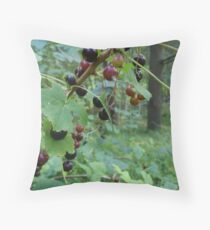 Black Currant bush Throw Pillow