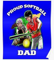 daa73aea6a Proud Softball Dad Perfect Art Design Poster