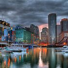 Boston Fort Point Sunset by sburdan