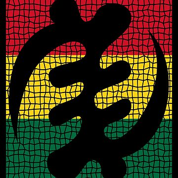 Adinkra Gye Nyame Red Yellow Green Mosaic by cnkna