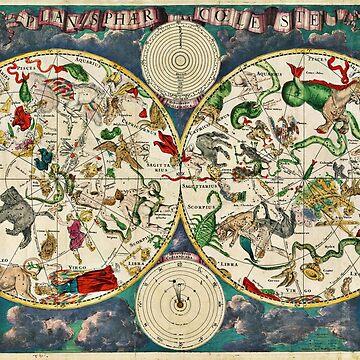 Celestial Map (Planisphærium cœleste) by Frederik de Wit (1670) by allhistory