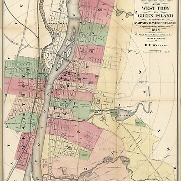 Map of Troy, West Troy & Green Island New York (1874) by allhistory