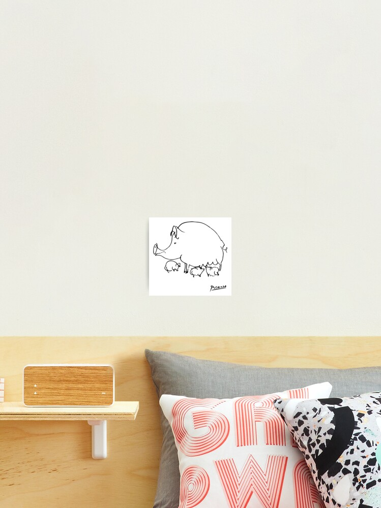 Pablo Picasso Pig Drawing Lines Sketch Animals Artowork Men Women Kids Tshirts Posters Prints Bags Photographic Print
