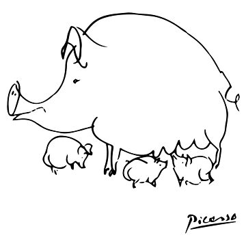 Pablo Picasso Pig Drawing, Lines Sketch, Animals Artowork, Men, Women, Kids, Tshirts, Posters, Prints, Bags by clothorama