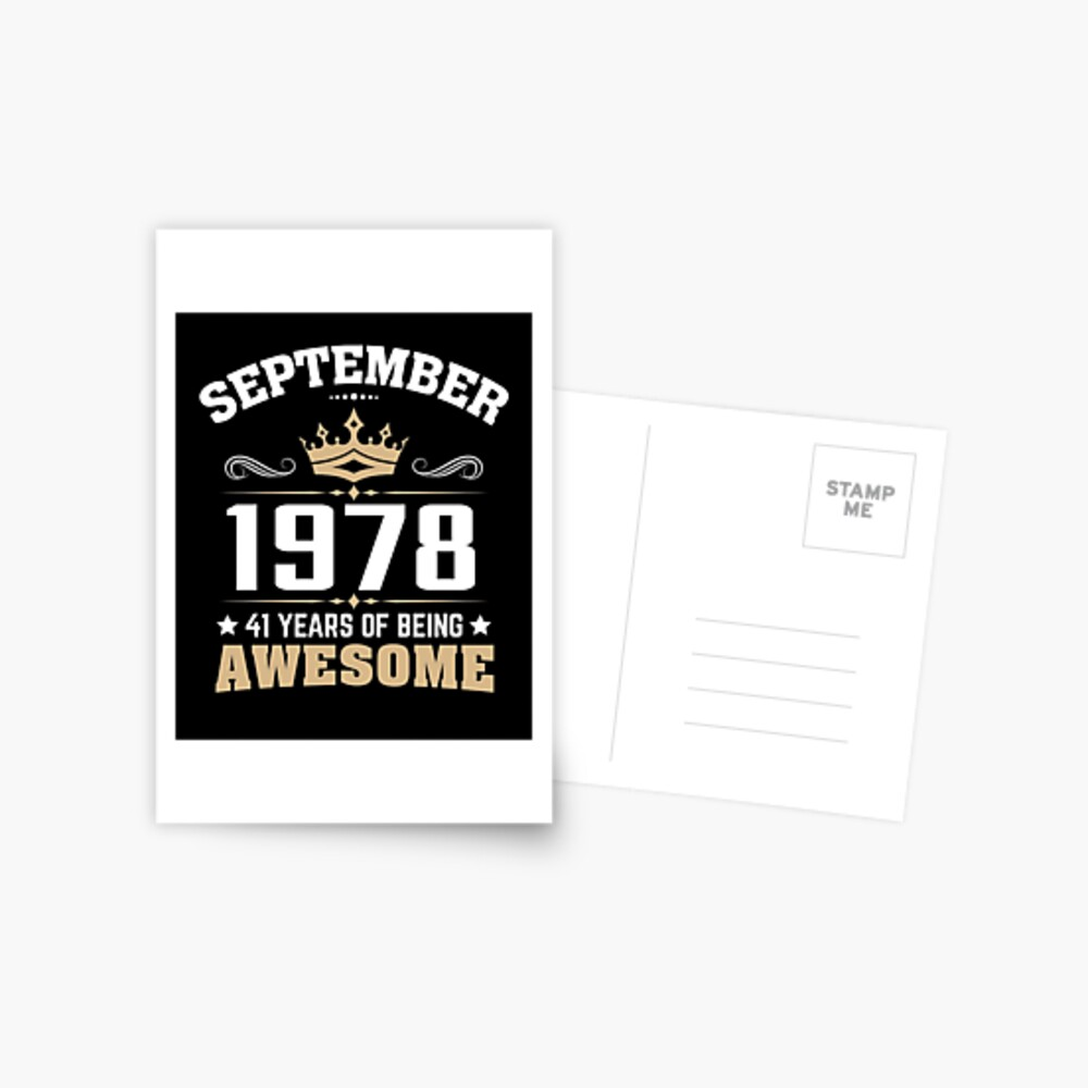 September 1978 41 Years Of Being Awesome Postcard