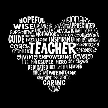 TEACHER Word Cloud Heart in White Text by jitterfly