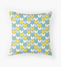 Tulip Knit (Aqua Gray Yellow) Throw Pillow