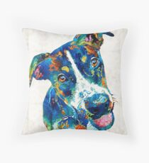 Colorful Dog Art - Happy Go Lucky - By Sharon Cummings Throw Pillow
