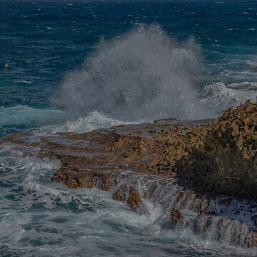 Crashing Wave at Boka Tabla National Park, Curacao by gerdagrice