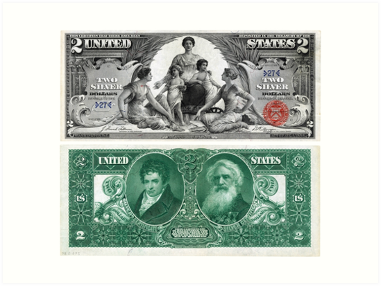 2 Two Dollar Bill Silver Certificate Series Of 1896