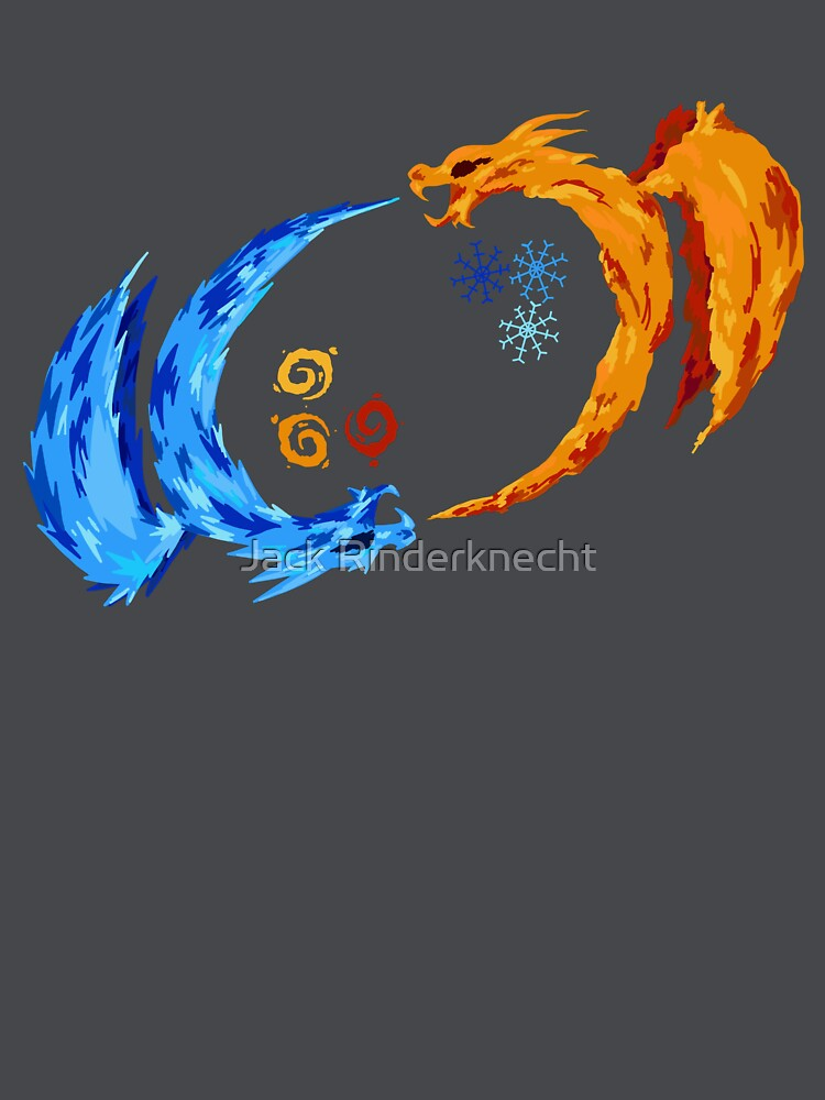 Fire And Ice Dragon Yin Yang By DarkFireNacho