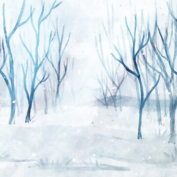 Snowy WInter Scene Forest Trees Watercolor Painting by TeeVision
