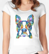 Colorful Boston Terrier Dog Pop Art - Sharon Cummings Women's Fitted Scoop T-Shirt