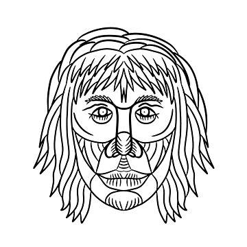 Homo Habilis Face Front Drawing by patrimonio