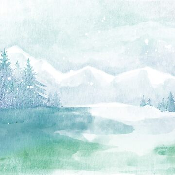 Winter Watercolor Mountain Valley Snowy Pine Trees by TeeVision
