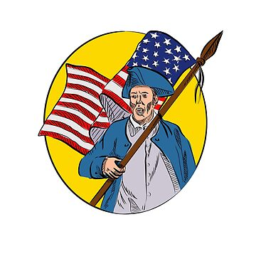 American Patriot Holding American Flag Drawing by patrimonio