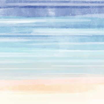 Watercolor Beach Ocean Sand Water Abstract Painting by TeeVision