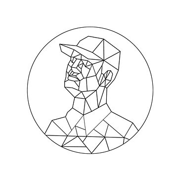 Union Worker Looking Up Low Polygon Black and White by patrimonio