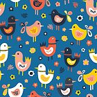 Doodle birds and flowers seamless pattern. Scandinavian flat style cute birds red, blue, pink, white. For fabric, kids decor, covers, easter, kids birthday, childrens wear, nursery, wrapping by Sandra Hutter