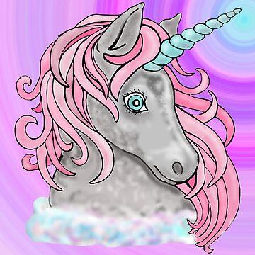 Pink Bubblegum Unicorn with colour background by Hummingbirdnz