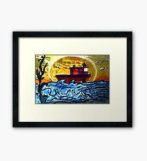 Sunset Tugboat Framed Print