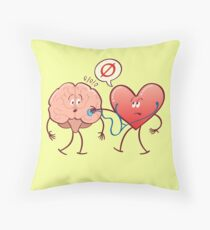 Heart examinating a brain with a stethoscope Throw Pillow
