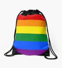 Gay Pride Rainbow Logo Flag Drawstring Bag