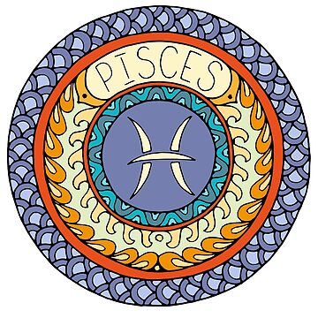 Pisces Zodiac Sign Colorful Birth Horoscope Circle by peter2art