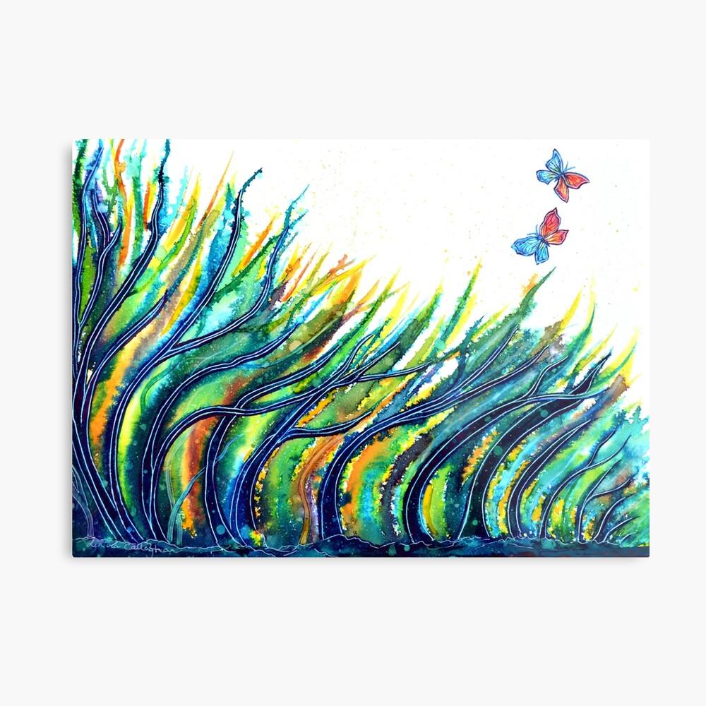 Rainbow Grass Metal Print