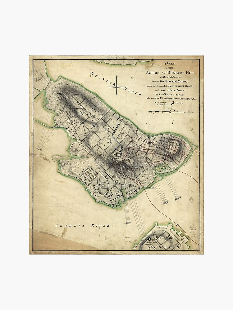 Bunkers Hill Revolutionary War Map (June 17, 1775) | Photographic Print