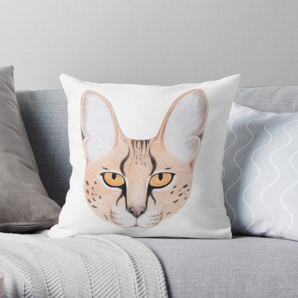 African Serval Cat Throw Pillow