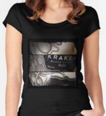 Krake Tailliertes Rundhals-Shirt