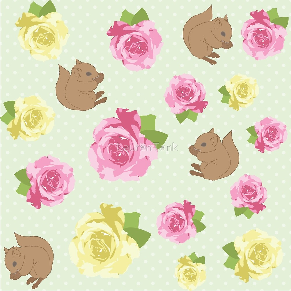 Squirrels and Roses by LaurenTank