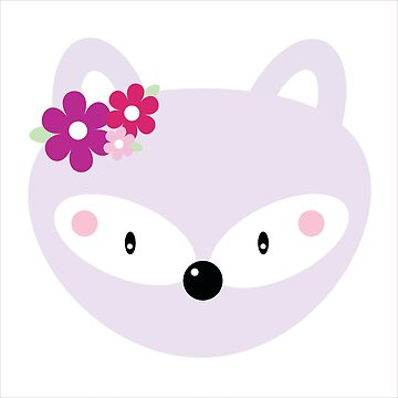 Lavender Fox with flowers by ApricotBlossom