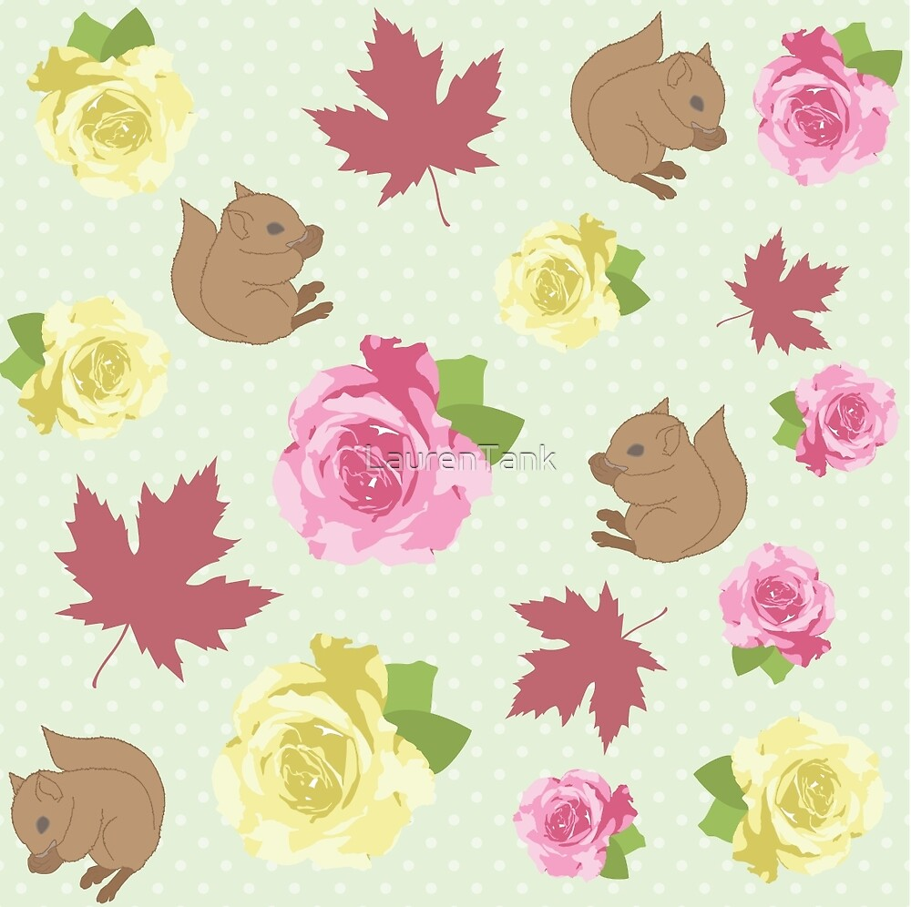 Squirrels, Roses, and Maple Leaves by LaurenTank