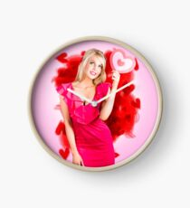 Perfect blond girl holding valentine heart sign Clock
