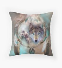 Wolf - Dreams Of Peace Throw Pillow