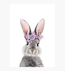 Häschen mit Blumen Fotodruck