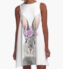Häschen mit Blumen A-Linien Kleid
